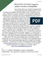 Glossari Francés-occitan Segon Lo Lengadocian de Montpelhièr (Lengadoc.chez.Com)