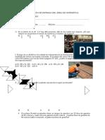 Evaluación de Entrada Del Área de Matemática