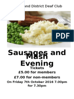 Sausages and Mash Poster 2016