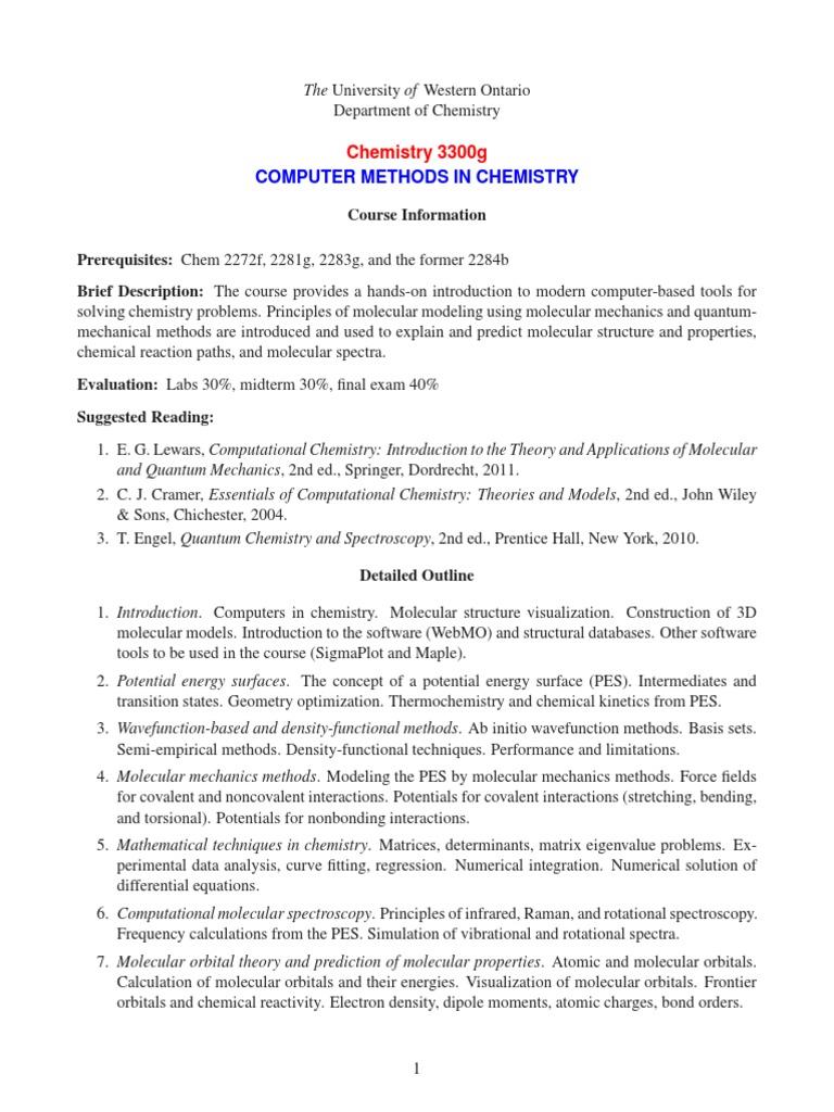 Computer Methods in Chemistry | Computational Chemistry
