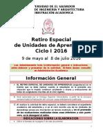 Retiro Casos Especiales I 2016 Completa