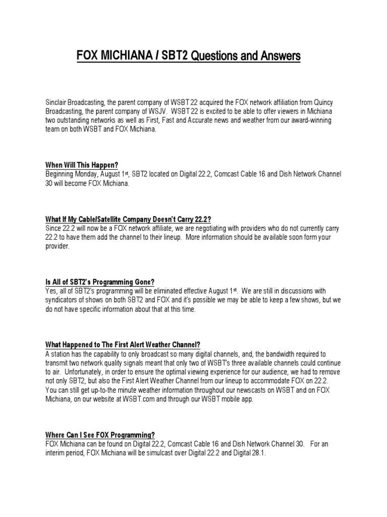 FOX Transition Q&A   Fox Broadcasting Company   Television