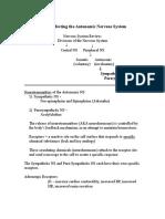Autonomic NS - Study Sheet