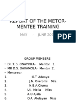 Report of the Metor-mentee Training