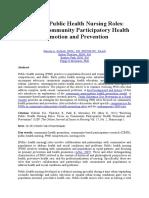 Evolving Public Health Nursing Roles