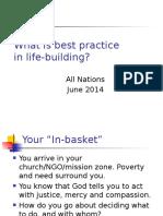 Best Practice in Lifebuilding