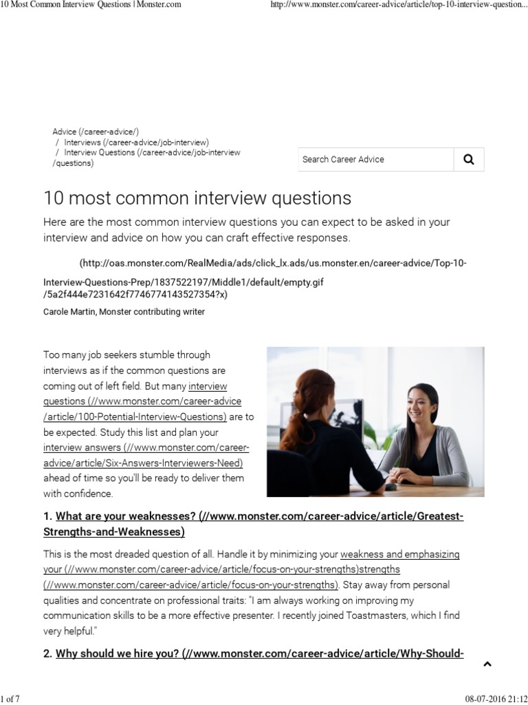 Famous Biggest Weakness Examples Job Interview Component Entry