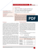 Effect of Melia Azedarach Extract on Some Selected Physiological Parameters of (Catla catla)
