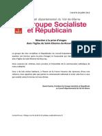Communiqué du groupe Socialiste et Républicain