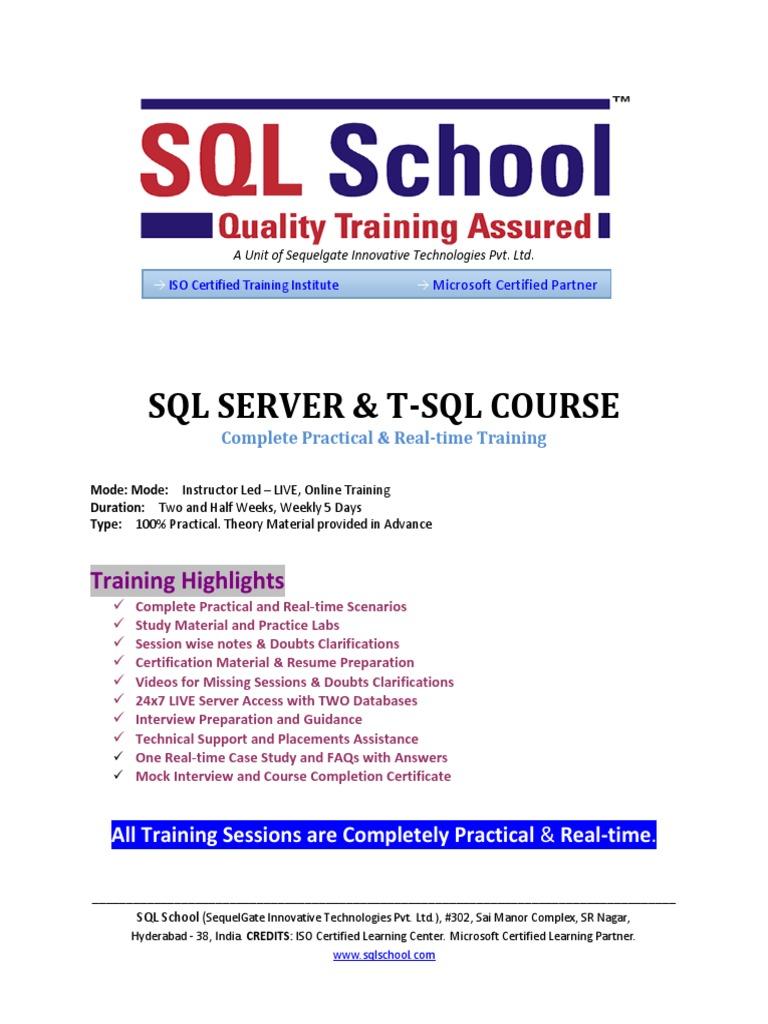 Sql Server Online Trainingpdf Database Index Microsoft Sql Server