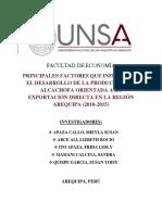 Investigación Económica -Principales factores que influyen en la producción de alcachofa para la exportacion , Arequipa.