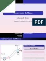 Conservação de massa - formulação integral