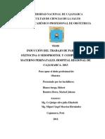 Inducción Del Trabajo de Parto Con Oxitocina o Misoprostol y Compicaciones Materno Perinatales. HRC. 2013