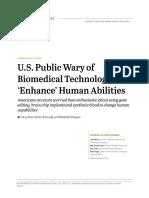 U.S. Public Wary of Biomedical Technologies to 'Enhance' Human Abilities