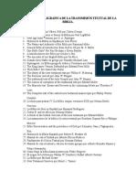 Referencia Bibligrafica de La Transmisión Textual de La Biblia