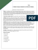 Study of Pelton Wheel Characteristics