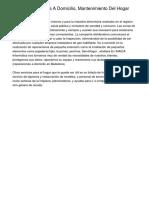 Empresa De Ayuda A Domicilio, Mantenimiento Del Hogar Con Internas