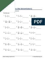 Grade 5 Adding Fractions Like Denominators A