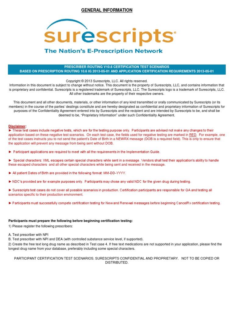 Prescriber Cancelrx V106 20130501 Certification Test Scenarios