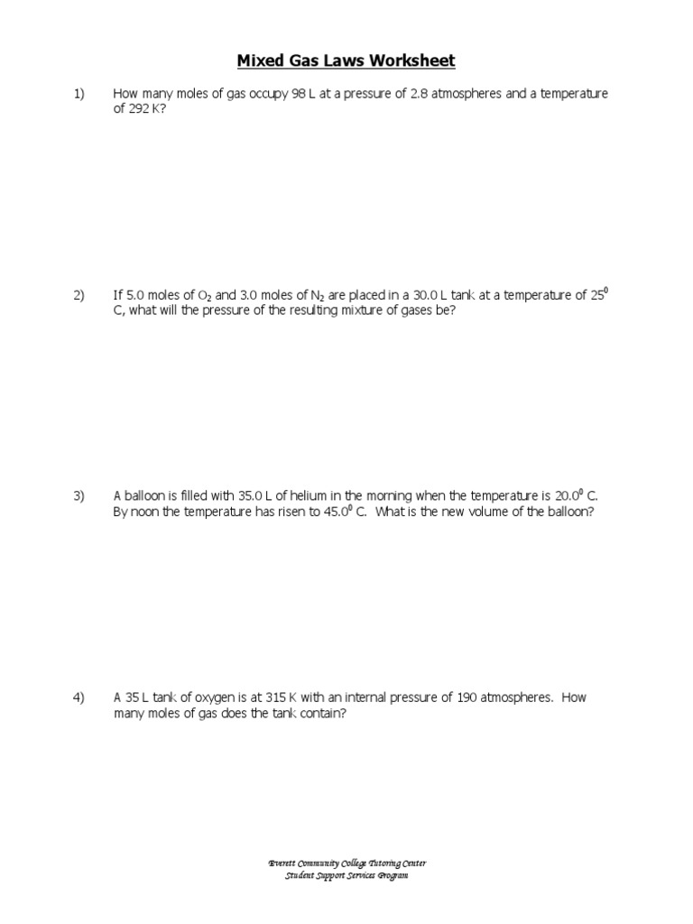 w338 Mixed Gas Laws Worksheet Balloon – Ideal Gas Law Worksheet