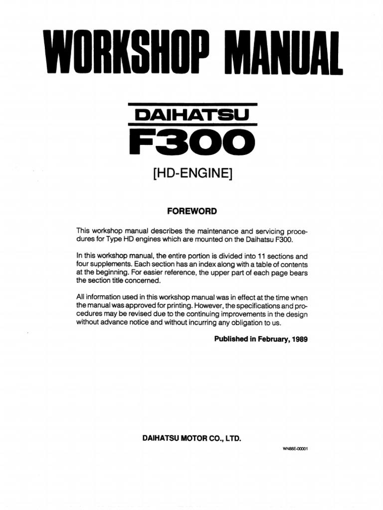 daihatsu feroza engine workshop manual rh scribd com daihatsu feroza manual pdf daihatsu feroza manual free