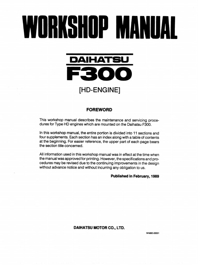 Daihatsu Feroza Engine Workshop Manual Wiring Harness