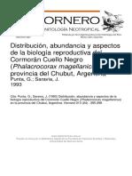 DISTRIBUCION, ABUNDANCIA Y ASPECTOS DE LA BIOLOGIA REPRODUCTIVA DEL CORMORAN CUELLO NEGRO