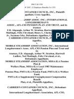 Carriers Container Council, Inc., Cross v. Mobile Steamship Assoc. Inc.--International Longshoreman's Assoc., Afl-Cio Pension Plan and Trust, and Its Trustees F.D. Alspaugh, Arthur W. Stratton, Hartwell Ludlow, Ned Mattingly, Felix Cleveland, Henry L. Clarke, Albert Walton, Jr., Seymour Irby, Cross Carriers Container Council, Inc. v. Mobile Steamship Association, Inc., International Longshoreman's Assoc. Afl-Cio Pension Plan and Trust and Its Trustees, F.D. Alspaugh, Arthur W. Stratton, Hartwell Ludlow, Ned Mattingly, Felix Cleveland, Mobile Steamship Association, Mssa-Ila Pension Plan & Welfare Plans, Mssa-Ila Local 1985 Maintenance Employees' Pension Plan, Pmta-Ila Pension Fund, Pmta-Ila Welfare Fund, Pmta-Ila Supplemental Unemployment Compensation Benefit Plan v. Carrier's Container Council, Inc., International Longshoreman's Association, Afl-Cio, Intervenor-Defendant, 896 F.2d 1330, 11th Cir. (1990)