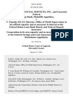 Guaranty Financial Services, Inc., and Guaranty Federal Savings Bank v. T. Timothy Ryan, Director, Office of Thrift Supervision, in His Official Capacity and as Successor in Interest to the Federal Home Loan Bank Board, and Federal Deposit Insurance Corporation in Its Own Capacity and as Successor in Interest to the Federal Savings and Loan Insurance Corporation, 928 F.2d 994, 11th Cir. (1991)