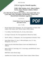 United States v. Charles Allen Lequire, Mike Jenkins, Jerry Allen Lequire, A/K/A Richard Martin, James Thomas Lequire, Robert Lequire, A/K/A Bob Martin, Bonnie Sue Anders, A/K/A Linda Hall, A/K/A Lynn Allen, A/K/A Ann Black, and Harold E. Ward, A/K/A Harold Hall, 943 F.2d 1554, 11th Cir. (1991)