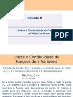 AULA - CÁLCULO 2 - Limite e Continuidade - Funções de Duas Variáveis