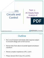 ECE2031 S2 2011 Topic 5 AC Steady State Analysis of Electric Circuits