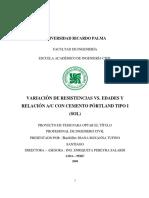 VARIACIÓN DE RESISTENCIAS VS. EDADES Y RELACIÓN AC CON CEMENTO PÓRTLAND TIPO I (SOL)