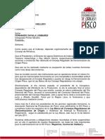 Carta Renuncia Consejo Regulador Dominación de Origen Pisco