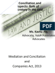 Negotiation, Conciliation and Arbitration Aspects