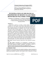 INVESTIGATION ON MECHANICAL PROPERTIES OF HEMP-E GLASS FIBER REINFORCED POLYMER COMPOSITES