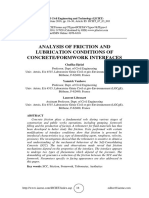 ANALYSIS OF FRICTION AND LUBRICATION CONDITIONS OF CONCRETE/FORMWORK INTERFACES