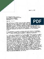 Warren Buffet's 1982 letter to John Dingell warning about derivatives