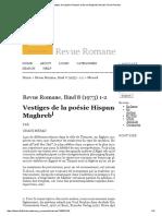 Vestiges de La Poésie Hispano-Arabe Au Maghreb _ Merad _ Revue Romane
