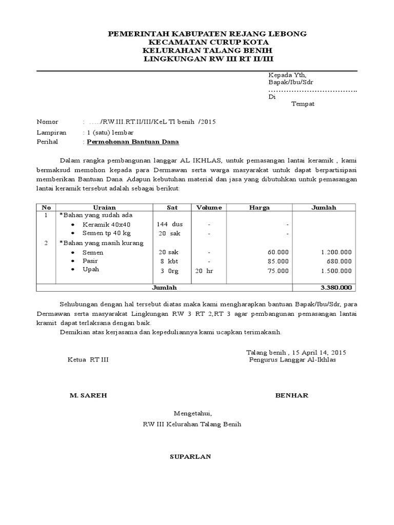 Contoh Surat Permohonan Bantuan Dana Pembangunan Gapura