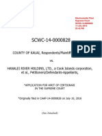 Application for Writ of Certiorari in the Supreme Court, County of Kauai v. Hanalei River Holdings, Ltd., No. SCWC-0000828 (July 10, 2016)
