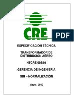 Especificacion Tecnica Xfo de Distribucion CRE