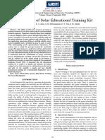 Development of Solar Educational Trainin