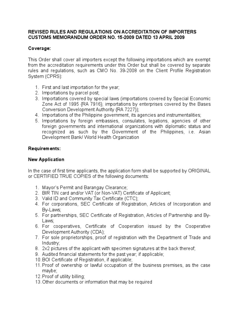 Revised rules and regulations on the accreditation of importers revised rules and regulations on the accreditation of importers under cmo 15 2009 by law corporations mitanshu Choice Image