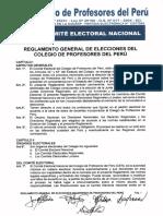 REGLAMENTO GENERAL DE ELECCIONES DEL COLEGIO DE PROFESORES DEL PERÚ