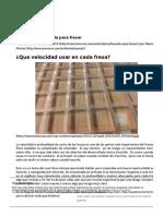 Velocidad Adecuada Para Fresar - Diseño Programación y Maquinas CNC