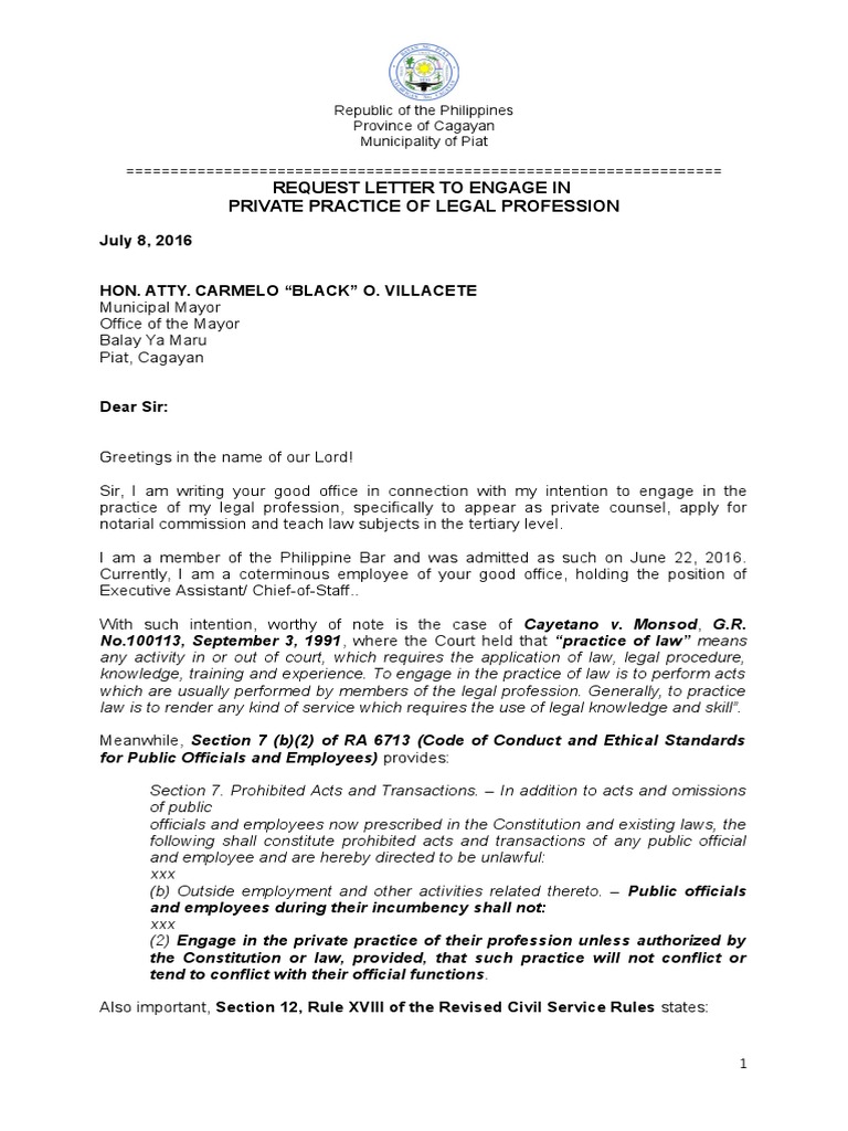 Request Letter To Practice Profession Practice Of Law Lawyer