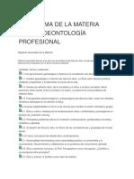 Programa de La Materia Ética y Deontología Profesional