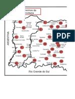 Mapa do Oeste Catarinense com os pontos de coleta de dados.