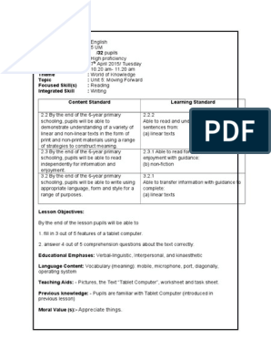 Lesson Plan Year 5 Reading Moving Forward Reading Comprehension Reading Process